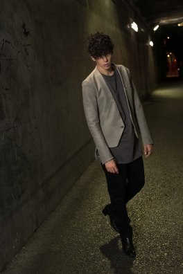 Japanese Calf Leather Lapelless Tailored Jacket 「Time」with Silver925
