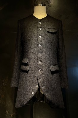 【ONEMAKE】No-Collar Long Jacket With Silver925【LIMITED】