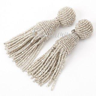 タッセルイヤリング シャイニー ビーズ ブライダルアクセサリー Tassel Earrings | Shiny - Short -