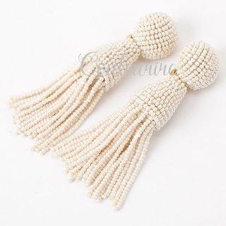 タッセルイヤリング アイボリー ショート ビーズ ブライダルアクセサリー  Tassel Earrings | IVORY - Short -