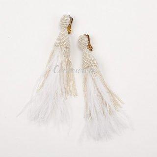 タッセルイヤリング ビーズ × フェザー  ブライダルジュエリー Tassel Earrings Feather | Pearl White -Long-