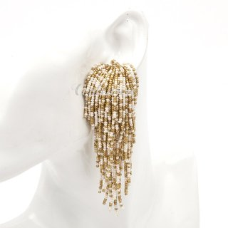 【LAST1点】タッセルイヤリング ビーズブライダルアクセサリー ウォーターフォール | Water Fall Earrings | GOLD & Ivory