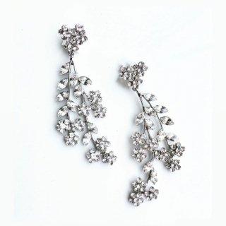 ハート&フラワーイヤリング  Heart & Flower Earrrings | クリスタルシルバー Clistal Silver<Ssize>