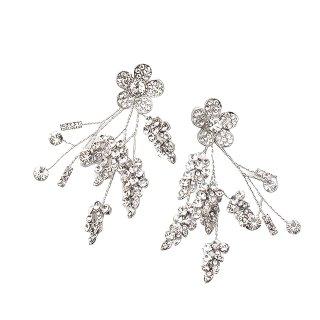 フラワー&リーフシャンデリアイヤリング Flower&Leaf Earring | クリスタルシルバー Crystal Silver