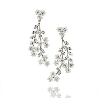 ハート&フラワーシャンデリアイヤリング Heart&Flower Earring | クリスタル&オパール Crystal&Opal<Ssize>