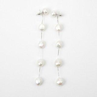 5ドロップロングパール <White> ピアスタイプ | 5 Drop Long Pearl -White
