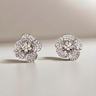 カメリア フラワークリスタルイヤリング | Camellia Flower Crystal Earrings|イヤリングタイプ