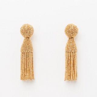 タッセルイヤリング ゴールド ビーズ ブライダルアクセサリー Tassel Earrings | Gold - Short -