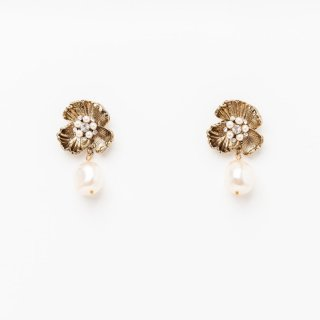 ブロッサムパールピアス <Gold>| Blossom Flower Pearl Earrings|ピアス