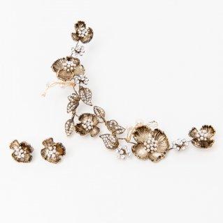 ブロッサムフラワーヘッドドレス +イヤリングセット<GOLD>/Blossom Flower Head dress + Earring set<GOLD>
