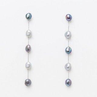 5ドロップロングパール <グレーグラデーション> イヤリングタイプ | 5 Drop Long Pearl Earrings-Gray Gradaton