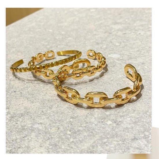 ダンクルチェーン バングルブレスレット -GOLD-<Lsize/Ssize>|Dancle Chain Bancle Bracelet | 男女兼用フリーサイズ