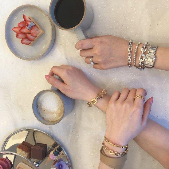 ダンクルチェーン バングルブレスレット -GOLD-<Lsize/Ssize>|Dancle Chain Bancle Bracelet | 男女兼用フリーサイズ 1