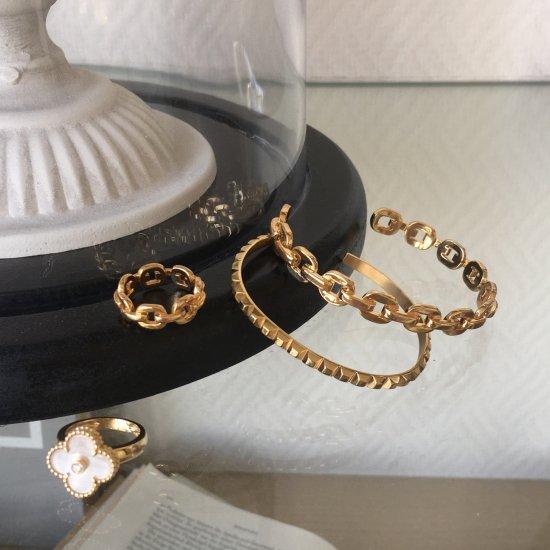 ダンクルチェーン バングルブレスレット -GOLD-<Lsize/Ssize>|Dancle Chain Bancle Bracelet | 男女兼用フリーサイズ 5