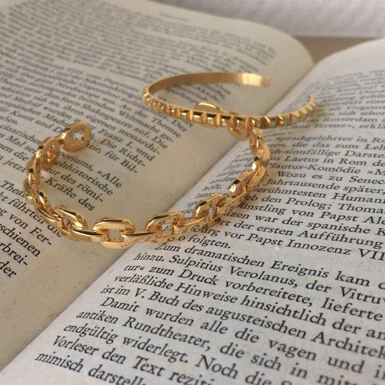 ダンクルチェーン バングルブレスレット -GOLD-<Lsize/Ssize>|Dancle Chain Bancle Bracelet | 男女兼用フリーサイズ 6