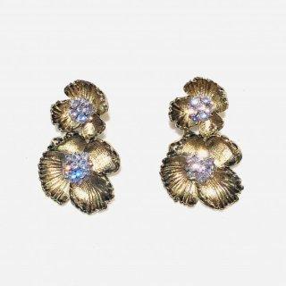 アンティークゴールド ダブルフラワーピアス・イヤリング |  Antique Gold Double Flower Earrings <Gold>