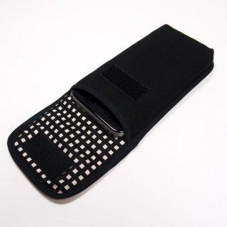 iPhone SEケース --タテ型(ブラック・グラフチェック)--ベルトなし