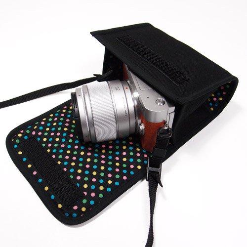 LUMIX GF10ケース/GF9ケース(ブラック・カラフルドットB)-- 単焦点/望遠ズームレンズ用