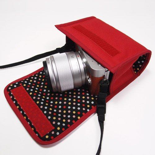 LUMIX GF10ケース/GF9ケース(レッド)-- 単焦点/望遠ズームレンズ用