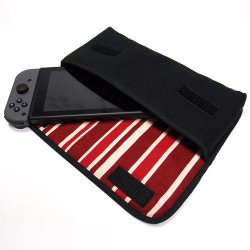 Nintendo Switchケース(ブラック・ボルドーストライプ)