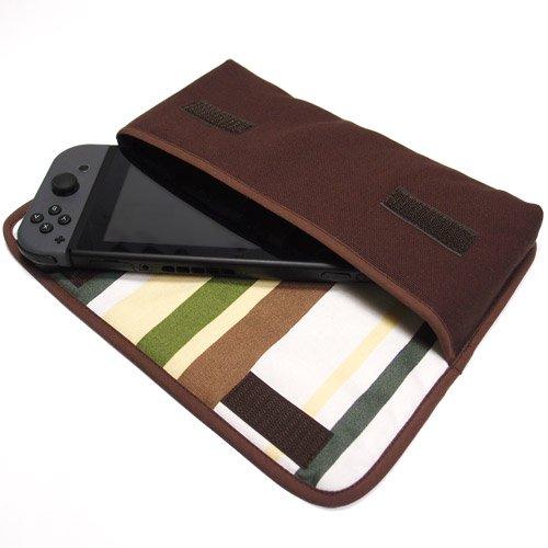 Nintendo Switchケース(ココア・カーキストライプ)