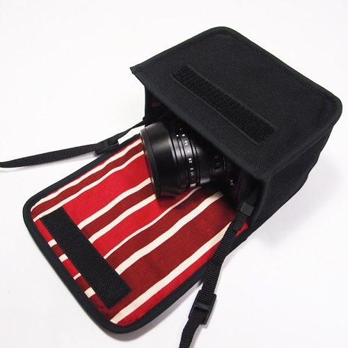 LUMIX GX7 Mark IIIケース(ブラック・ボルドーストライプ)--単焦点ライカDGレンズ+レンズフード用