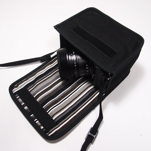 LUMIX GX7 Mark IIIケース(ブラック・アルバグレイ)--単焦点ライカDGレンズ+レンズフード用--カラビナ付