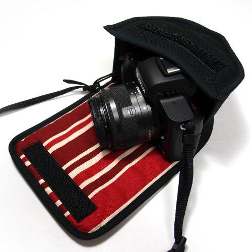 キヤノン EOS Kiss M2ケース / EOS Kiss Mケース(ブラック・ボルドーストライプ) -EF-M15-45 IS STM レンズキット用