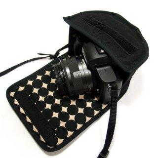 キヤノン EOS Kiss M2ケース / EOS Kiss Mケース(ブラック・マーブルドット) -EF-M15-45 IS STM レンズキット用
