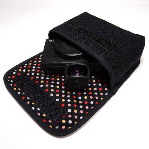 リコーGR2ケース /GRケース(ブラック・カラフルドット)--外部ファインダー用