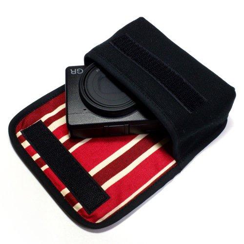 リコーGR3 ケース(ブラック・ボルドーストライプ) --ベルトループ付