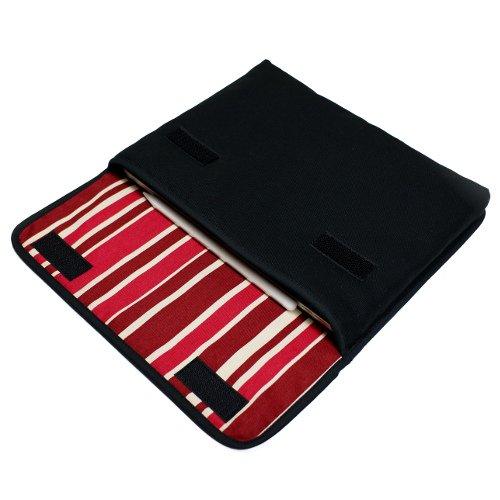 12.9インチ iPad Proケース・Lサイズ「FILO」(ブラック・ボルドーストライプ)