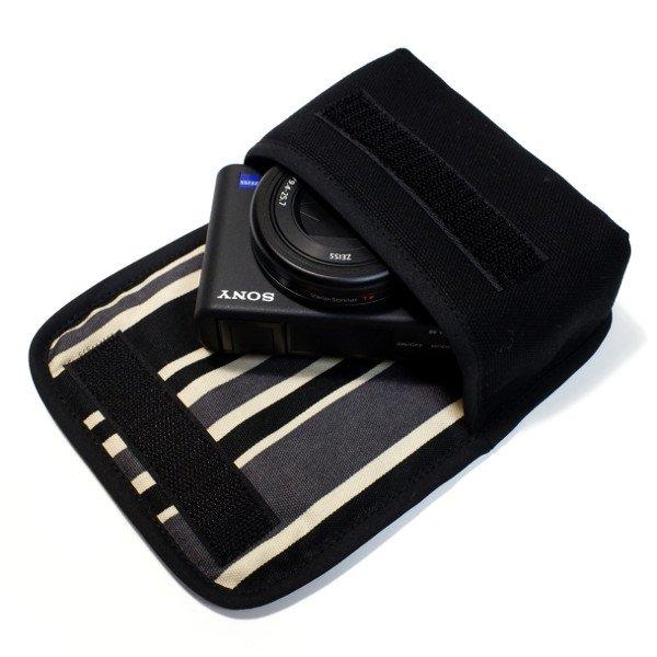 ソニーVLOGCAM ZV-1ケース(ブラック・カーボンストライプ)--ベルトループ付