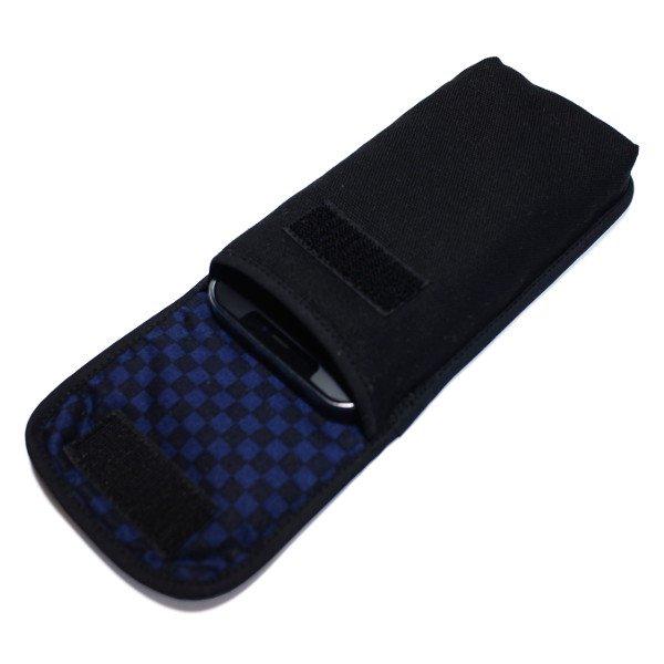 iPhone 12ケース / iPhone 12 Pro ケース ベルトなし(ブラック・ネイビーチェック)