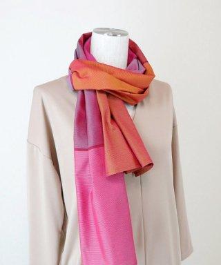 大島紬創作織り七色ストール(ピンク)
