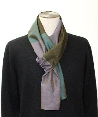 大島紬創作織り3色ストール(緑・黒・藤色)