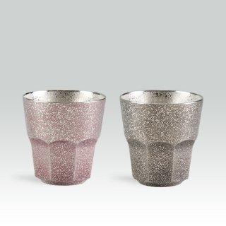 錫 八面グラス黒・紫 2個セットイブシ加工 商品番号:94B-1-2/名入れ・マーク入れ 不可