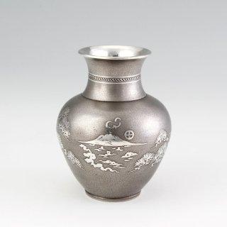 錫 花器 花瓶 イブシ加工 桜島 商品番号:140/名入れ・マーク入れ 不可