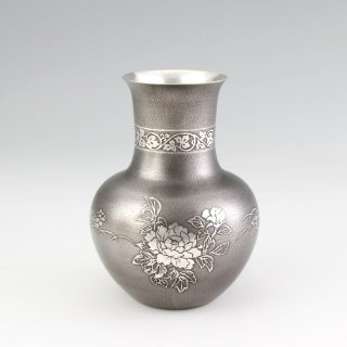 錫 花器 花瓶 イブシ加工  商品番号:143/名入れ・マーク入れ 不可
