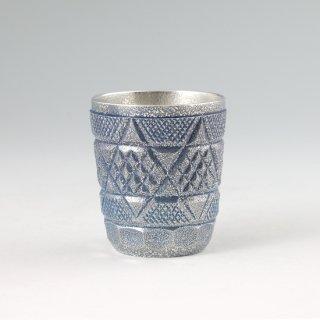 錫 切子タンブラー 藍 イブシ加工 250ml 商品番号:95C-1-3/名入れ・マーク入れ 不可