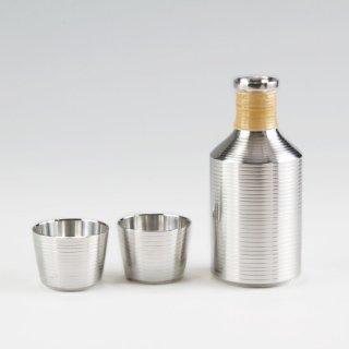 錫 酒器セット スジ磨き 磨き加工 ぐい呑2ケ 300ml 商品番号:72-2/名入れ・マーク入れ 不可