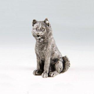 錫 置物 犬 イブシ加工 商品番号:186C-11/名入れ・マーク入れ 不可