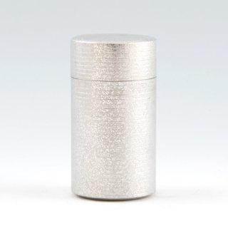 錫 茶筒 吹雪加工 白 200g 商品番号:11-2/名入れ・マーク入れ 不可