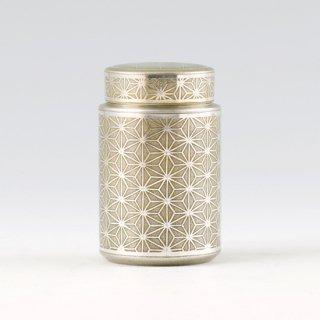 錫 茶筒 麻の葉 イブシ加工 黄 120g 商品番号:17-5/名入れ・マーク入れ 不可