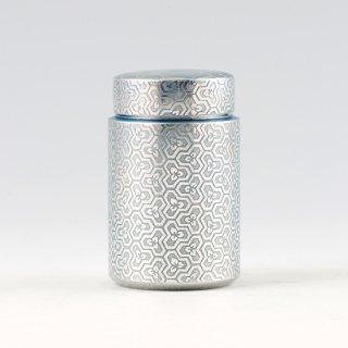 錫 茶筒 亀甲 イブシ加工 青 120g 商品番号:17-6/名入れ・マーク入れ 不可