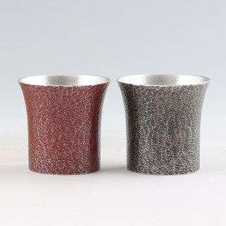 錫 タンブラー桜島2個セット 黒漆赤漆加工 250ml 商品番号:396-2-3/名入れ 可・マーク入れ 不可