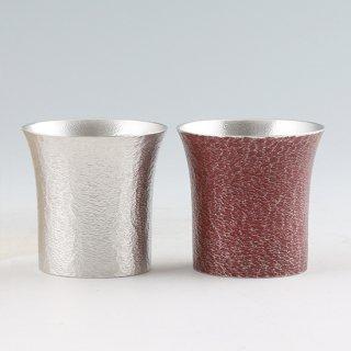 錫 タンブラー桜島2個セット 赤漆加工 250ml 商品番号:396-1-3/名入れ 可・マーク入れ 不可