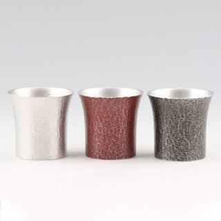 錫 タンブラー桜島 全色3個セット 黒漆赤漆加工 250ml 商品番号:396-1-2-3/名入れ 可・マーク入れ 不可