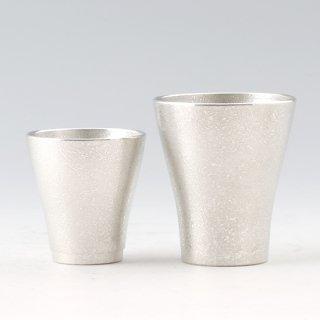 錫 フリーカップゼロ2個セット 吹雪加工 商品番号:77A-1・78A-1/名入れ・マーク入れ 不可