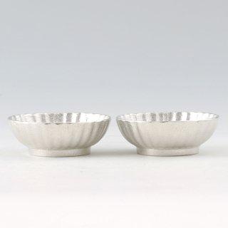 錫 小鉢菊2枚セット 白仕上げ 商品番号:1300-1/名入れ・マーク入れ 不可